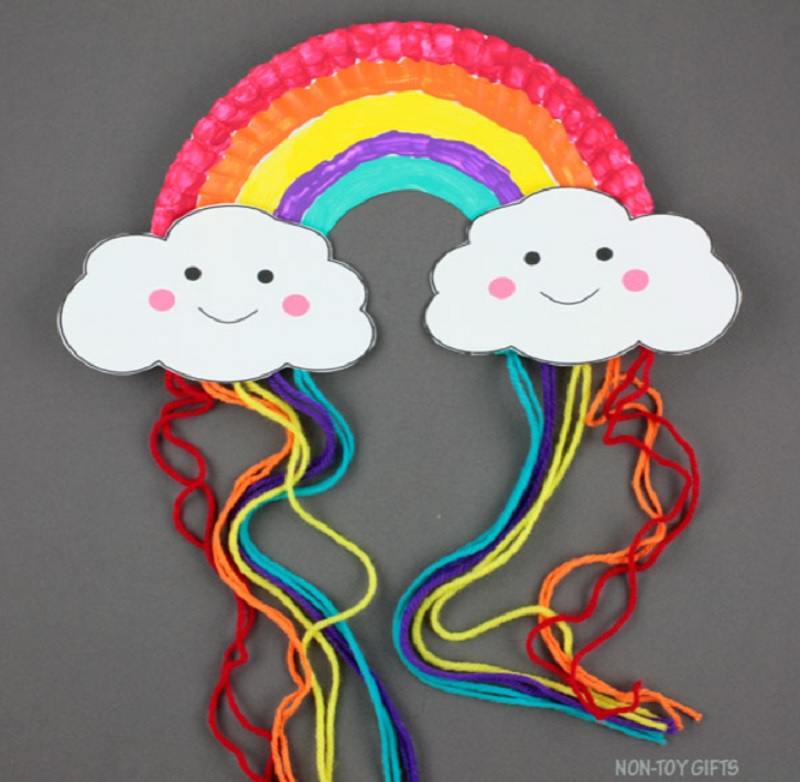 paper plate rainbow with clouds