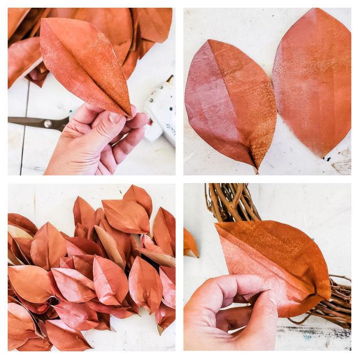 pinch and glue leaf ends together, glue leaves onto wreath form
