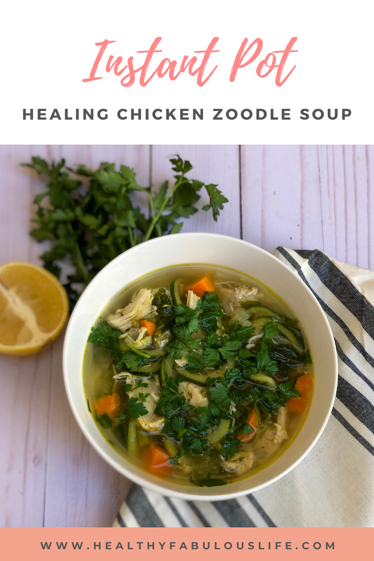 This healing chicken zucchini zoodle soup is easy to make in the Instant Pot, is full of nutrients, and perfect for boosting immunity. Just like your mom's comfort food classic chicken noodle soup, but made healthier with zucchini noodles.