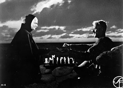 "Bengt Ekerot and Max von Sydow play chess in Ingmar Bergman's ""The Seventh Seal"""