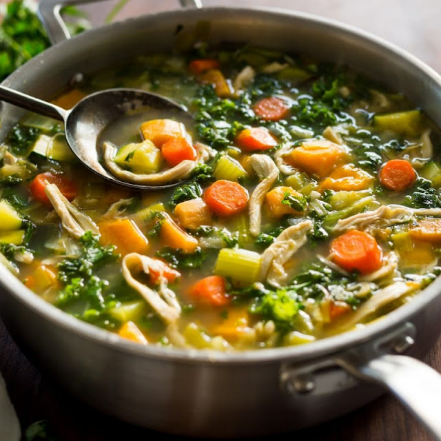Leftover Turkey, Sweet Potato and Kale Soup