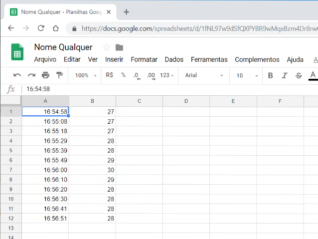 Dados importados na planilha Google Sheets