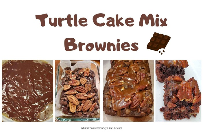 this is a collage of Turtle brownies and how to make them