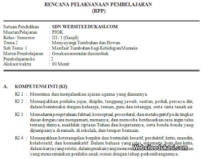 RPP PJOK Kelas 3 Tema 2 Kurikulum 2013 Revisi 2019