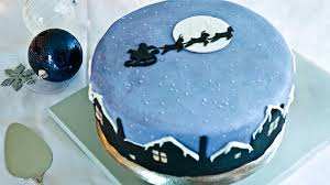 Aqua theme cake for parties of New Year and Xmas