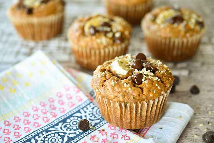 Heavenly Hemp Seed Banana Chocolate Chip Muffins (Vegan)