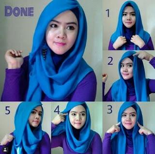 Tutorial hijab segi empat wajah bulat remaja modis