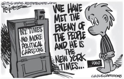 "UNIFOR 2021: A tradução correta para a sentença ""We have met the enemy of the people and he is The New York Times..."" é"