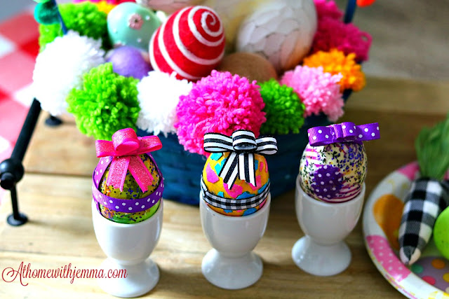 diy, craft, Easter, eggs, modpodge, handmade, ribbon, athomewithjemma.com