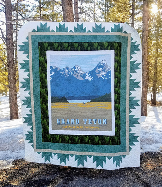 Delectable Mountain Quilt designed by Deonn of Quiltscapes, featuring fabric from the National Parks collection by Anderson Design Group
