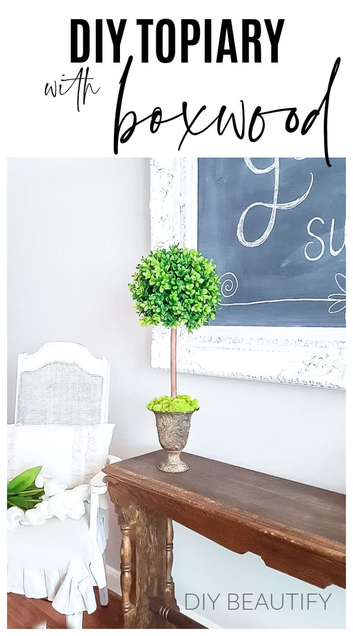 boxwood topiary in farmhouse dining room