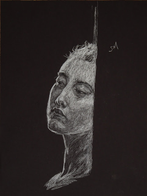 face, head, sarah, myers, art, arte, drawing, sketch, dibujo, dessin, kunst, conte, charcoal, white, black, paper, dark, woman, doorway, expression, mouth, eyes, nose, bright, highlights, shading, glow, technique, pencil, artist, lines, design, figurative, contemporary, modern