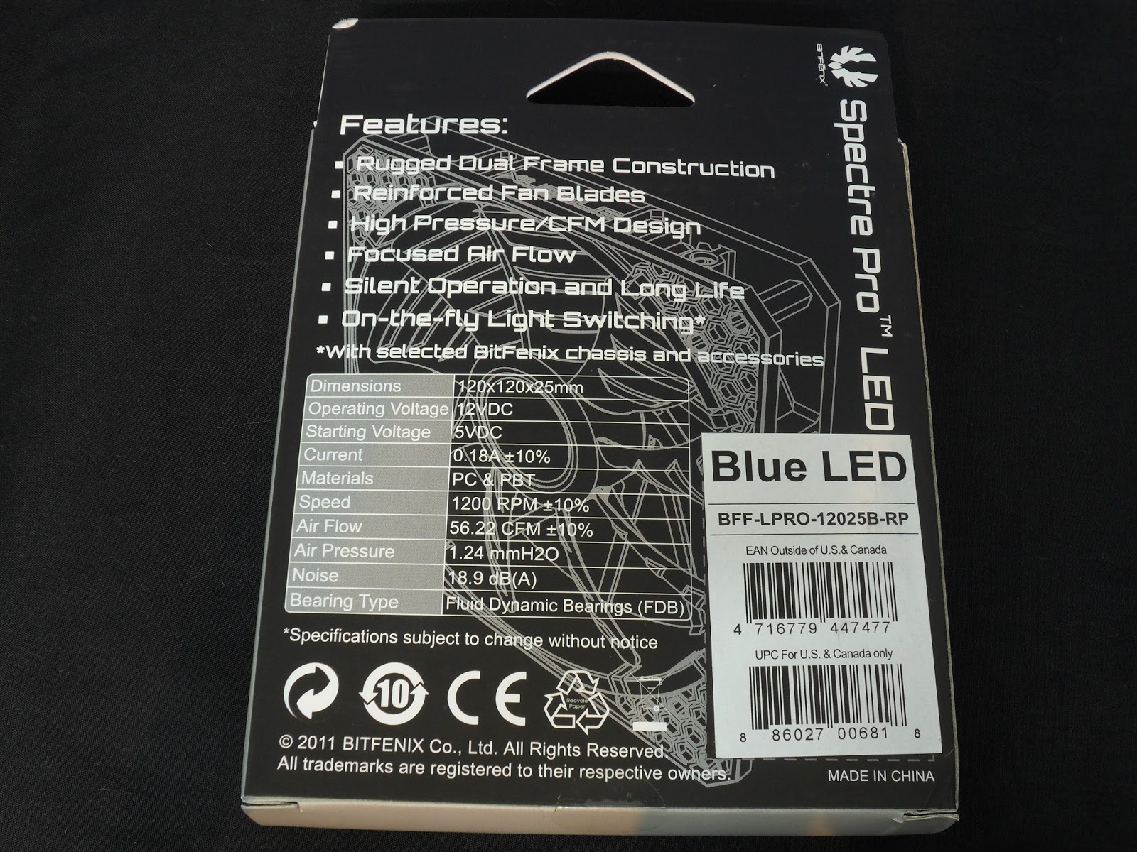 Unboxing & Review : BitFenix Spectre Pro LED 120mm 3