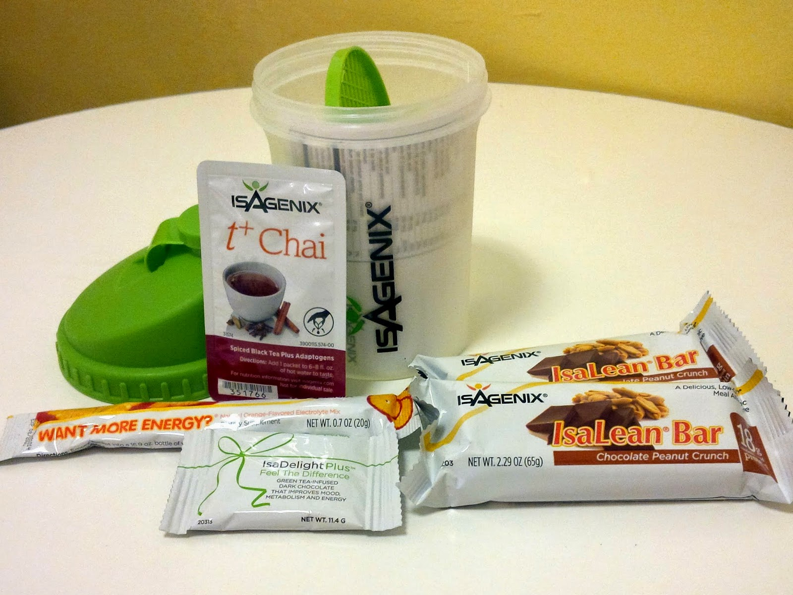 Isagenix 5-piece sample pack with shaker bottle
