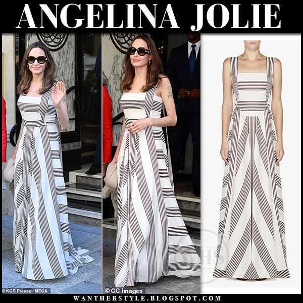 Angelina Jolie In Striped Maxi Dress In Paris On July 9 I Want