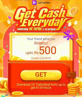 UC Turbo App Refer & Earn offer - Get Free 500 Rs paytm Cash