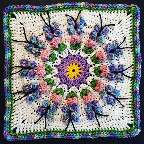Crochet Butterfly Garden Afghan Block - Free Pattern
