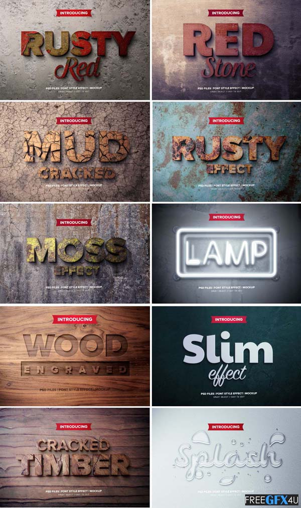 Wooden Rusted Cracked Font Effect PSD Templates