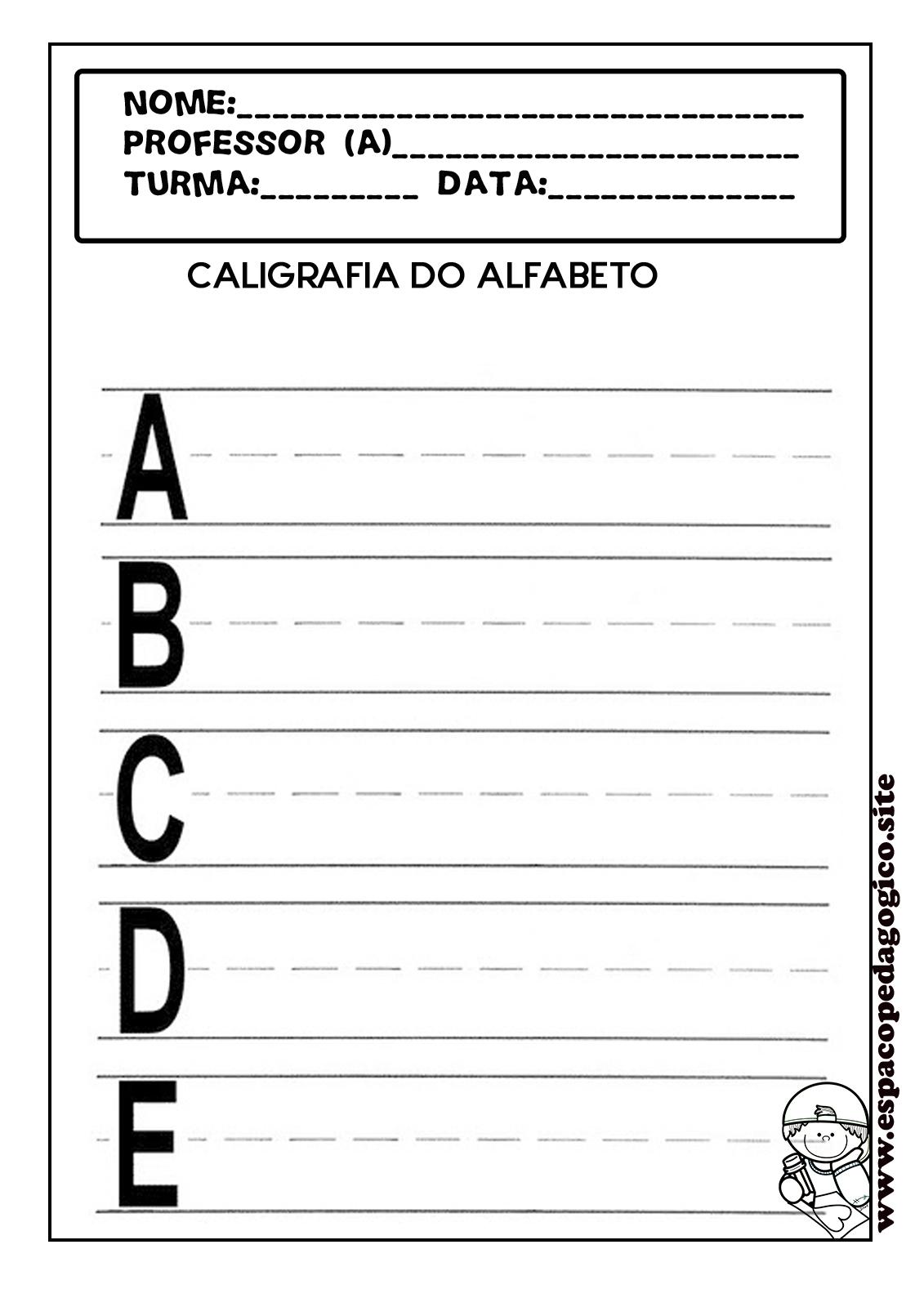 Atividades De Alfabetizacao Caligrafia Do Alfabeto Letra Bastao