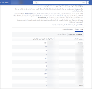 بمجرد أن تدخل الى هذه الصفحة في الفيسبوك ستجد جميع أرقام أصدقائك