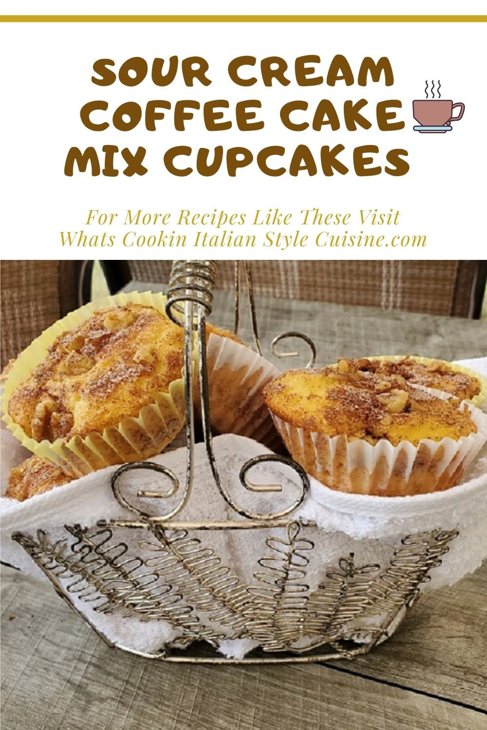 this is a pin for later on how to make a doctored cake mix sour cream coffee cake