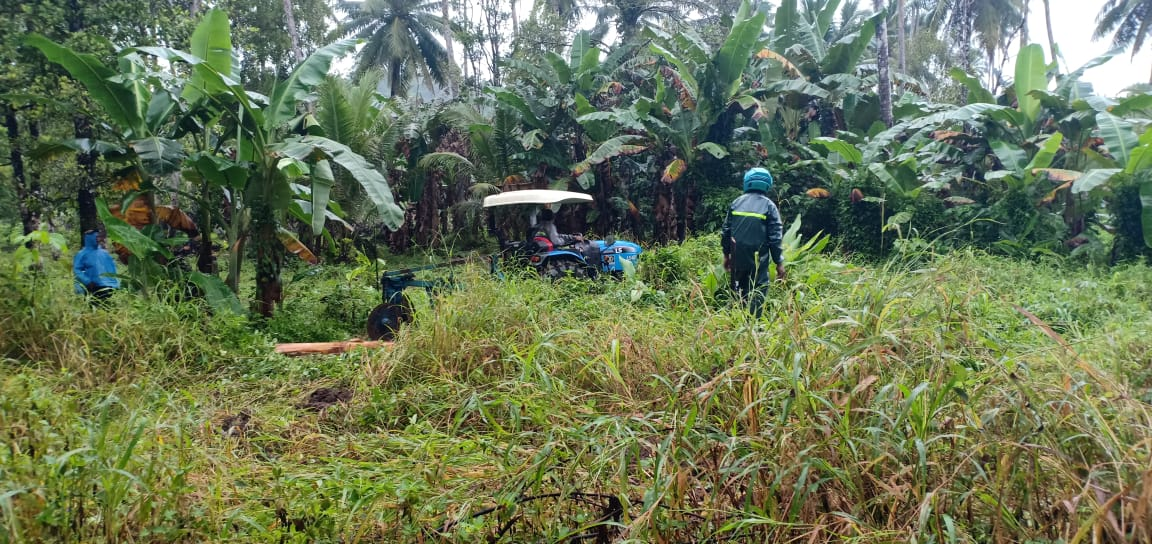 Babinsa Bersama Kelompok Tani Desa Ensem Timur Olah Lahan