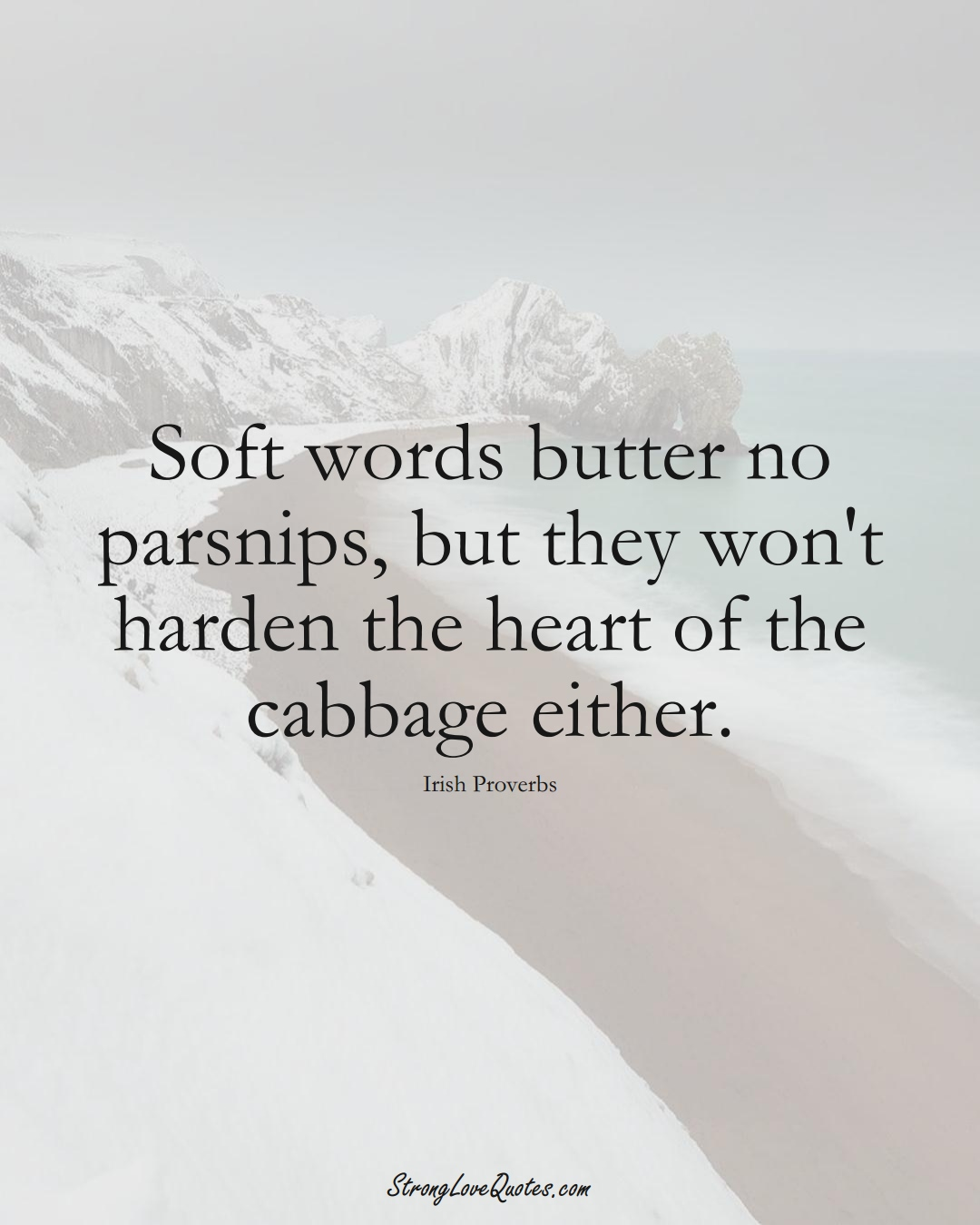 Soft words butter no parsnips, but they won't harden the heart of the cabbage either. (Irish Sayings);  #EuropeanSayings