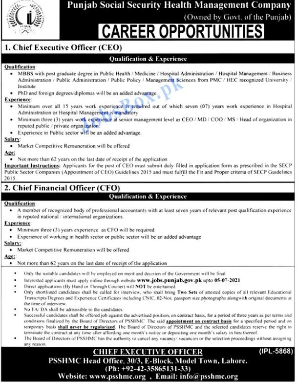 Latest Jobs in Punjab Social Security Health Management Company PSSHMC June 2021