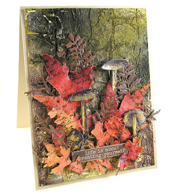 Sizzix Fall Foliage Stampers Anonymous Tiny Toadstools Tim Holtz Layering Stencil Decayed For The Funkie Junkie Boutique