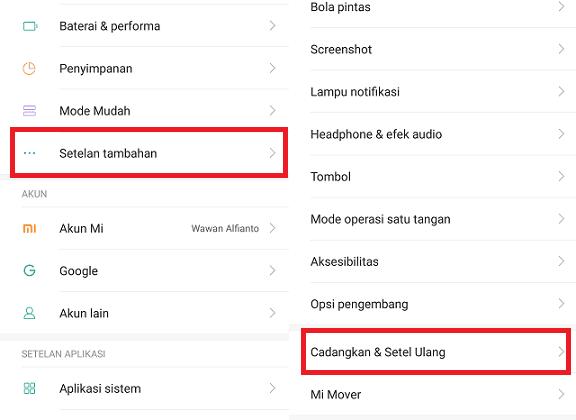 Buat Backup Cadangan Hp Xiaomi