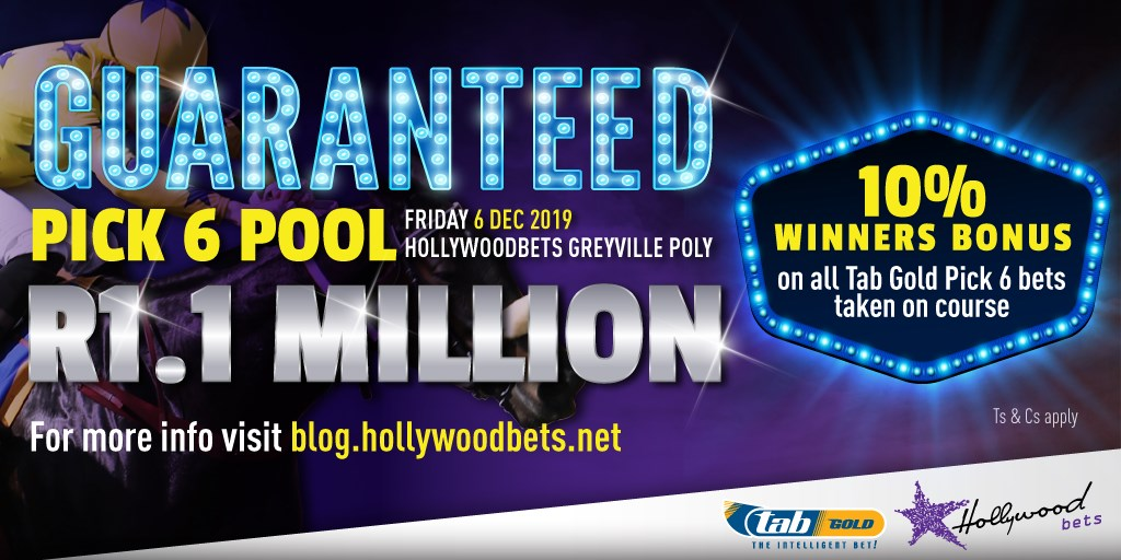 Guaranteed minimum Pick 6 pool of R1.1 million at Hollywoodbets Greyville