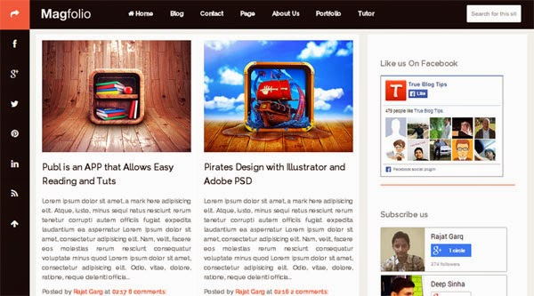 Magfolio Free Blogger Template