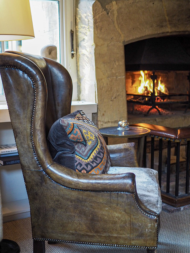 Dormy House Cotswolds Luxury Hotel fireplace