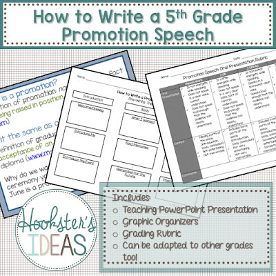 This resource is everything you need to teach your fifth graders how to write a promotion speech.  I usually start these post testing.