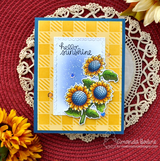 Sunflower Card by Amanda Bodine | Sunflower Days Stamp Set and Gingham Stencil by Newton's Nook Designs #newtonsnook #handmade