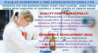 Walk-in Interview Job Openings for Our Manufacturing Plant SMS Lifesciences India Limited