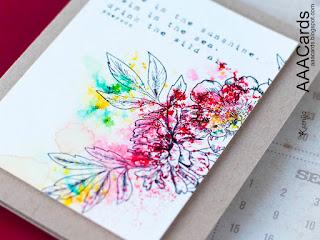 Brusho Crystal Coloured Floral Card
