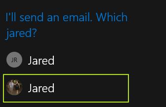 pilih kontak untuk mengirim email Windows 10