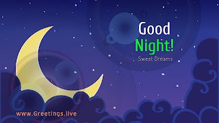 crescent moon clouds and stars vector image with good night message