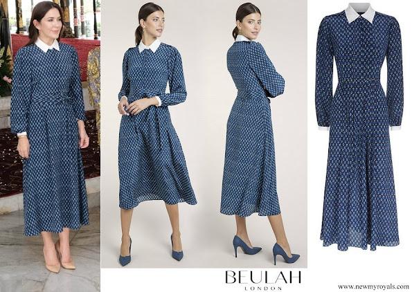 Crown Princess Mary wore Beulah London Shalini Micro Geo Floral Shirt Dress