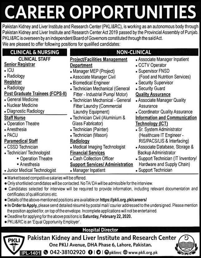Jobs in Pakistan Kidney Liver Institute and Research Center 2020