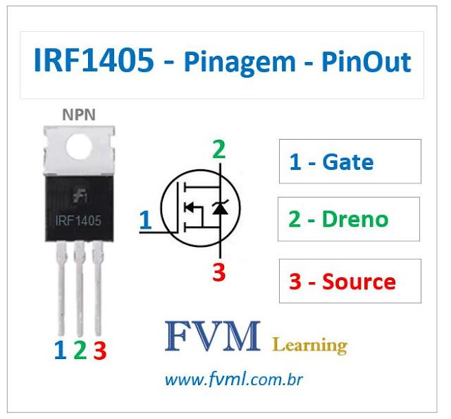 Pinagem - Pinout - Transistor Mosfet - NPN - IRF1405 - Características