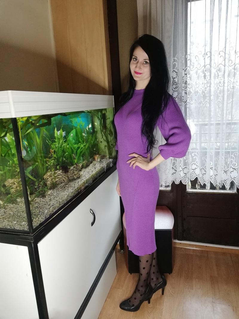 Orsay fioletowa sukienka z dzianiny