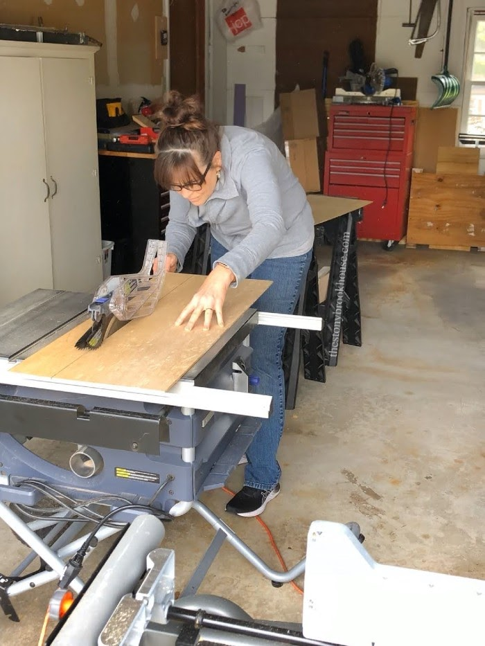 cutting out plywood shelves