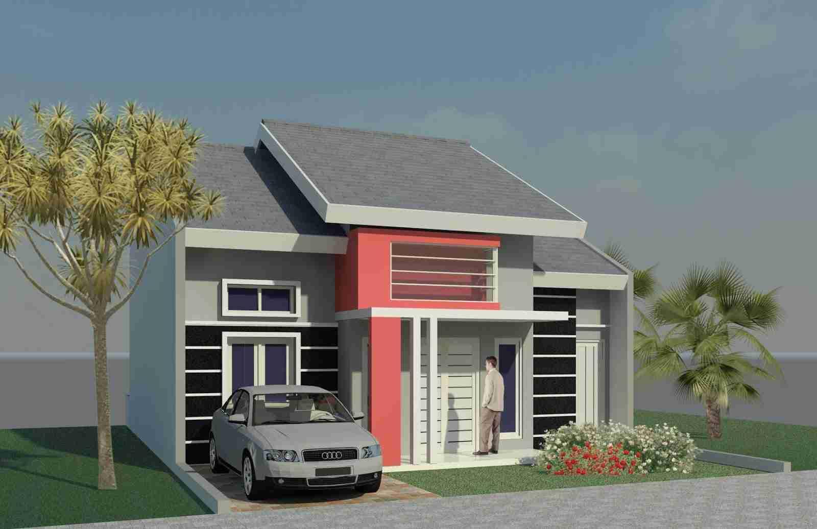Desain Rumah Minimalis Warna Abu-Abu Merah