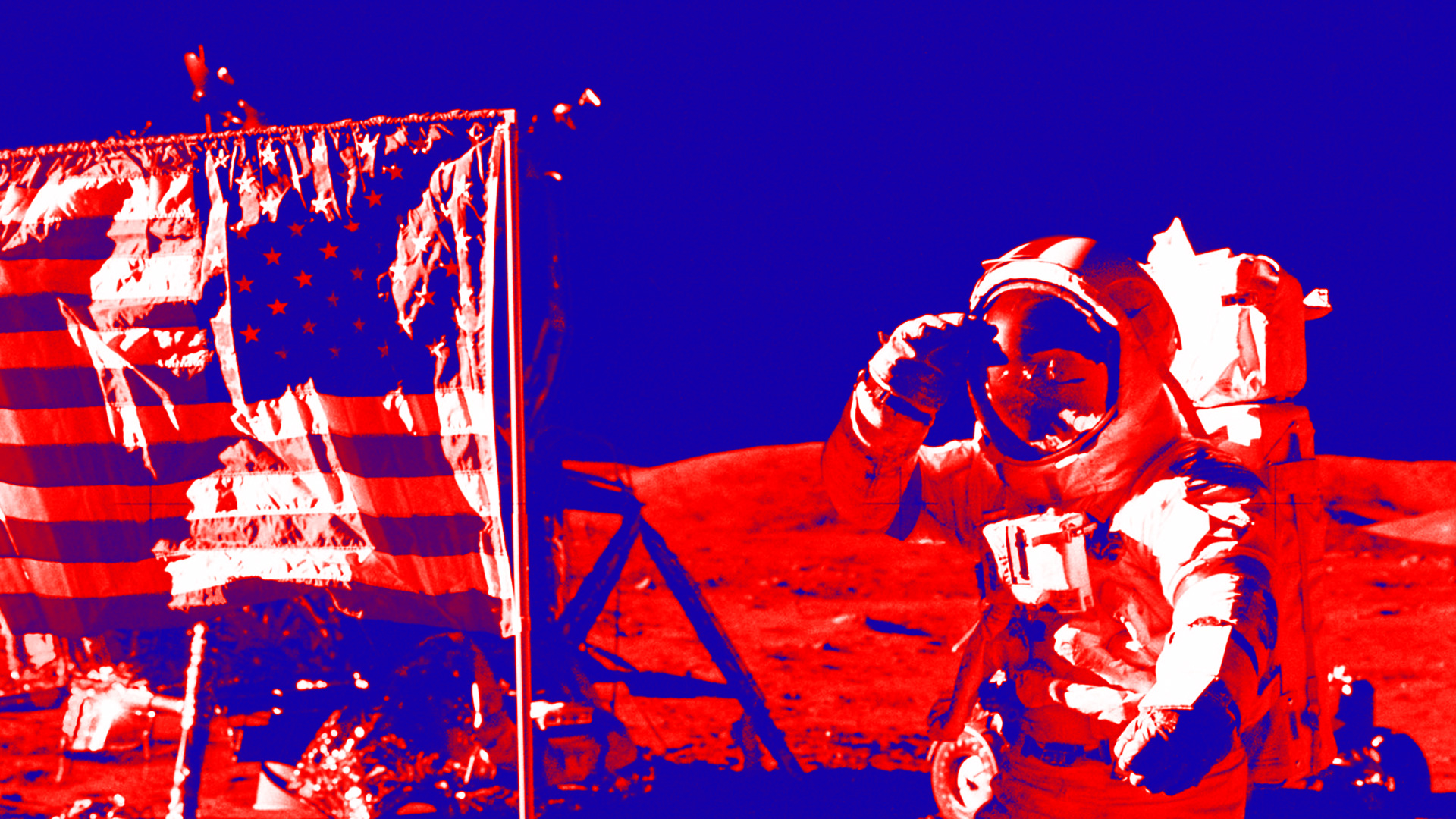 Moon Landing Astronaut with USA Flag Background