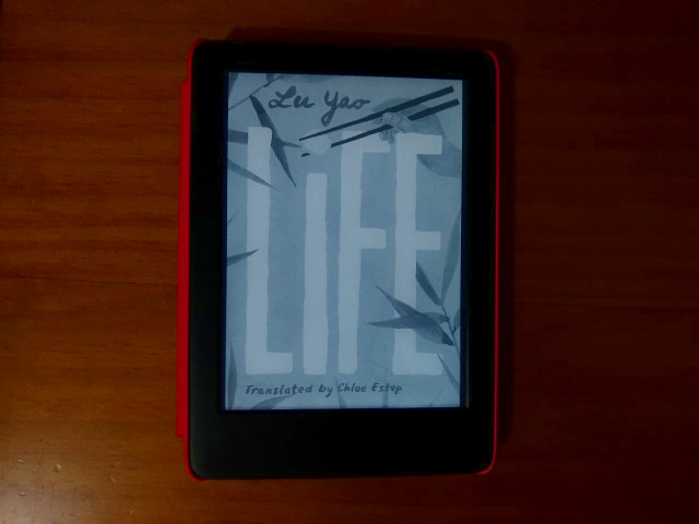 A Kindle with the ebook Life cover showing in a brown background.