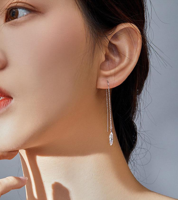 優美羽毛流蘇 925純銀耳環