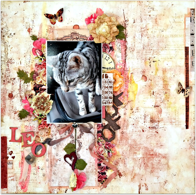 Leo Mixed Media Cat Shabby Chic Scrapbook Layout by Dana Tatar for Scraps of Darkness Kit Club