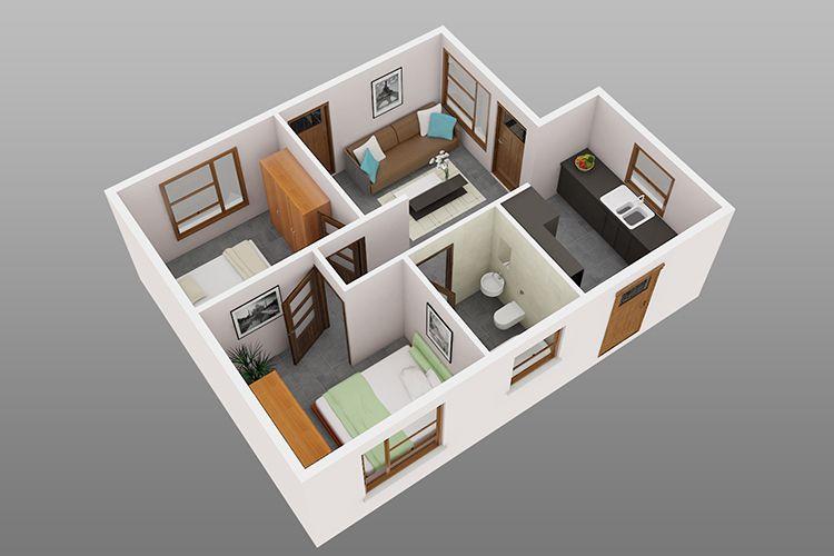 Ilustrasi Desain Rumah Petak 2 Kamar Tidur 3D Minimalis Sederhana